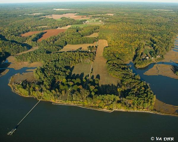 Aerial shot of Werowocomoco.