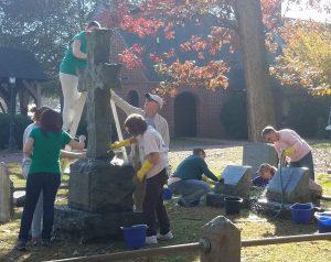 Picture of volunteers cleaning historic gravestones.
