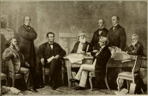 President Lincoln discussing the Emancipation Proclamation.