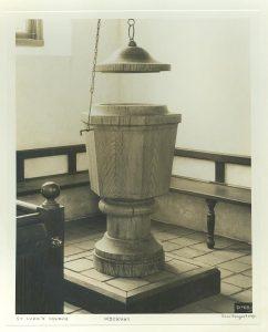 SL2000.30.001, 1950-1960. Baptismal font, done by woodworker Leo Wubbold.